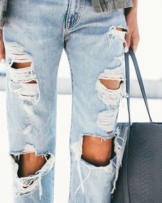 Destroyed denim with