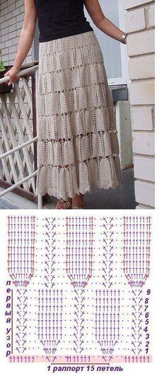 Fabulous Crochet a Little Black Crochet Dress Ideas. Georgeous Crochet a Little Black Crochet Dress Ideas. Crochet Skirt Pattern, Crochet Skirts, Crochet Diagram, Crochet Chart, Knit Skirt, Crochet Clothes, Crochet Stitches, Crochet Patterns, Skirt Patterns
