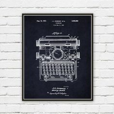Our Typewriter Patent Print is taken from the United States Patent Office archives and details Patent No. 2,252,652 by J.L. Sweeney and his 1941 typewriter design. The Patent print includes the number, date and main figure drawings from the patent and is signed by the inventor and his attorney. This unique patent print is a digital reproduction of the original patent figure drawings and placed on a aged, navy blue background to give the print depth and texture. Makes a wonderful art print…