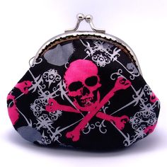 Grey and hot pink skull - Small clutch / Coin purse