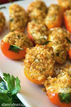 Mini Stuffed Sweet Peppers - http://www.afamilyfeast.com - Stuffed with a savory filling of herbed cream cheese and goat cheese plus a like crispy panko topping. So good!