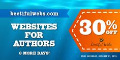 AUTHOR WEBSITES! 6 more days to get 30% off all website packages http://BeetifulWebs.com  #beetiful #authorwebsites
