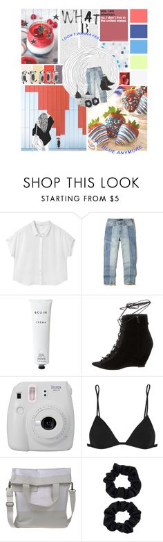 """""""i don't wanna feel blue anymore"""" by katykitty5397 ❤ liked on Polyvore featuring Monki, Hollister Co., Rodin, Narciso Rodriguez, Fujifilm, IRO, MM6 Maison Margiela and Accessorize"""