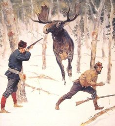 The Moose Hunt - Frederic Remington hand-painted oil painting reproduction, moose trappers,American west winter hunting,snow covered forest Moose Hunting, Hunting Art, Westerns, Hunting Painting, Frederic Remington, Picture Tiles, Cowboy Art, Oil Painting Reproductions, Le Far West