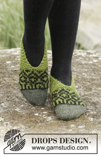 """Olive Love - Knitted DROPS slippers with Nordic pattern worked from toe up in """"Nepal"""". - Free pattern by DROPS Design"""
