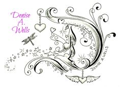 Fancy letter D Tattoo design by Denise A. Wells including hanging heart charm and winged heart charm, dragonfly, stars and stardust, musical notes and filigree...