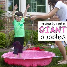 Our recipe for Giant Bubbles is perfect for making HUGE, GIGANTIC life-size bubbles! Kids will be enthralled for hours with this magical bubble solution. Giant Bubble Recipe, Bubble Diy, Bubble Party, Outdoor Activities For Toddlers, Games For Toddlers, Summer Activities, Summer Games, Baby Pool, Kid Pool