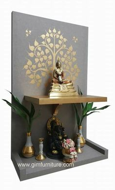 Painted Bird Houses Ideas Diy Living Rooms 44 Ideas For 2019 Temple Design For Home, Home Temple, Indian Inspired Decor, Indian Home Decor, Home Entrance Decor, Entryway Decor, Pooja Room Door Design, Wall Design, Buddha Decor