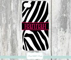 MONOGRAMMED PHONE Covers Personalized Phone Case Zebra Print Black White Hot Pink Custom Print Animal Print Samsung Galaxy IPhone Monogram Cell Phone Accessory $21.99