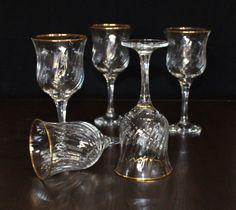 Vintage, Set of 5, Winterthur Royal, Optic Swirl, Gold Rim, Water Goblets