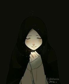 Cute Love Cartoons, Cute Cartoon Girl, Anime Muslim, Muslim Hijab, Hinata Hyuga, Muslim Pictures, Hijab Drawing, Islamic Cartoon, Sad Drawings