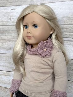 DIY Crochet Pattern  18 inch Doll Flower Necklace Scarf and