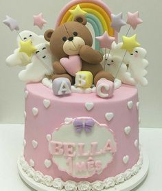 Let them eat cake Baby Girl Cakes, Baby Birthday Cakes, Birthday Kids, Teddy Bear Birthday Cake, Fondant Cakes, Cupcake Cakes, Teddy Bear Cakes, Teddy Bears, Cake Images