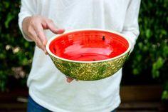 Pottery Bowls, Ceramic Bowls, Watermelon Bowl, Large Fruit Bowl, Farmhouse Kitchen Decor, Salad Bowls, Dinner Table, Safe Food, Color Splash