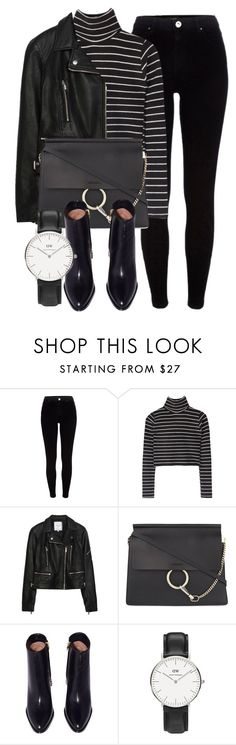 """Untitled #6395"" by laurenmboot ❤ liked on Polyvore featuring River Island, Zara, Chloé and Daniel Wellington"
