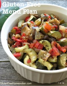 I am going to try this for sure! This ratatouille recipe combines fresh vegetables, olive oil and herbs in a delicious dish that can be served alone or put on top of just about anything. Vegetarian Recipes Easy, Gf Recipes, Side Dish Recipes, Gluten Free Recipes, Healthy Recipes, Side Dishes, Bariatric Recipes, Easy Recipes, Gluten Free Meal Plan