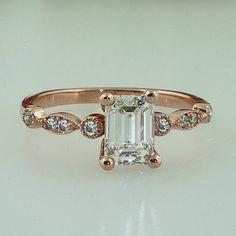 7x5 Emerald Cut Moissanite and Diamond Engagement Ring 14k Rose Gold Antique Vintage Unique Design 7