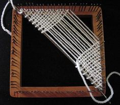 Weaving a Bias Triangle on a Regular Weavette Loom by knittingand, via Flickr
