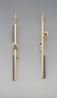 Earrings | Janis Kerman. 18kt, oxidized sterling silver, industrial diamonds and pink sapphires