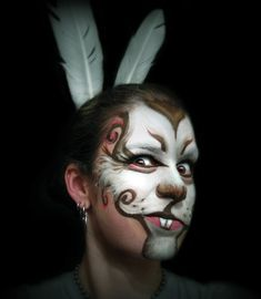 Emma - white rabbit - thiswould be great for the alice in wonderland play because of the detail but sipleness there is in the look. Face Painting Designs, Paint Designs, Painting Art, Body Painting, March Hare Costume, Bunny Face Paint, Alice In Wonderland Makeup, Wonderland Costumes, Adult Face Painting
