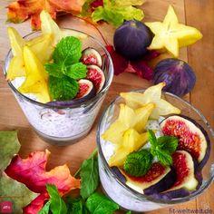 Rezept zum Frühstück: #Chia #Feigen #Kokos #Pudding (schnell & gesund) Chia Feigen Kokos Pudding (schnell & gesund) 150 ml Kokos Jogurt (Harvest oder Kokos Lupinen Jogurt) 50 ml Wasser 2-3 EL Chiasamen Deko: frische Feige Deko: Karambola, frische Minzblätter / 1 TL Agavendicksaft Erweiterbar durch Haferflocken und Leinsamen. Positive Auswirkungen der Zutaten: siehe Blog … denn so macht das #Essen noch mehr Spaß. #Frühstück #vegan #gesundheit #mealprep #büro #rezepte #rezept Superfood, Fruit Salad, Acai Bowl, Brunch, Chia Pudding, Breakfast, Desserts, Blog, Instagram