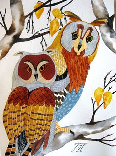 Owls original painting on paper by irinashop on Etsy, $95.00: