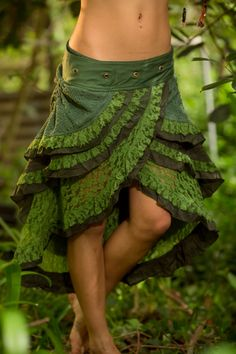 Gypsy Wrap Skirt (Green) - Boho Tribal Fairy Festival Layer Crochet Wrap Around…