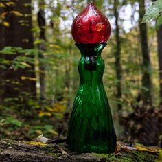 Flatwoods Monster, Blenko Glass, Rainbow Glass, Clover Green, Glass Company, Hand Blown Glass, Hot Sauce Bottles, Red Color, Creative Design