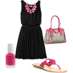 Pink and Black simple summer outfit...