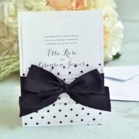 Black & White Dot Fabric Invitation Kit