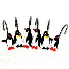 Colormate Penguins Fabric Shower Curtain in Shower Mats | Beso.com