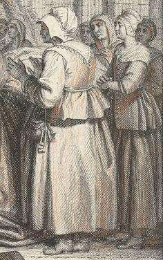 "1703 - 1767.  Detail of ""Geboorte van Pantagruel"" (Birth of Pantagruel) by Jacob Folkema and Louis Fabritius Dubourg.  Women -- Clothing & dress -- 1700-1799 -- Netherlands. 18th century Dutch costume."