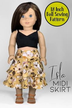 Sew the Isla Midi Skirt for your 18 inch doll with this premium sewing pattern from Appletotes & Co. PDF 18 inch doll clothes pattern comes with easy to follow, step-by-step instructions and color pictures with every step. PDF available for instant download so you can print and sew right away! Doll Sewing Patterns, Doll Clothes Patterns, Clothing Patterns, 18 Inch Doll, American Girl, Pattern Design, Midi Skirt, High Waisted Skirt, Dolls