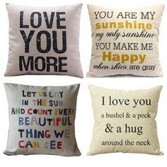 HOSL P63 4pcs Cotton Linen Sofa Simple Home Decor Design Throw Pillow Case Decor Cushion Covers Square 18 Inch (4x Love Pillow Covers))