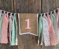 Pink, mint, and gold highchair banner, first birthday, Fabric Banner, birthday banner, nursery, girl, polka dot by RockyTopCharm on Etsy