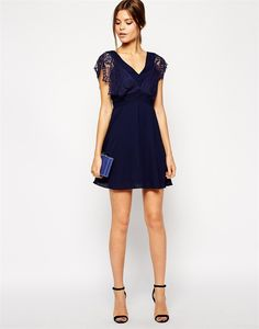 Buy Elise Ryan Lace Skater Dress With Scallop Sleeve and Low Back at ASOS. Get the latest trends with ASOS now. Day Dresses, Dresses For Work, Summer Dresses, Asos, Light Dress, Sexy Party Dress, Chiffon Dress, Skater Dress, Bridesmaid Dresses