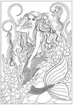 Mermaid Fantasy: Adult Coloring Book by Jason Hamilton Printable Flower Coloring Pages, Mermaid Coloring Pages, Coloring Book Pages, Coloring Pages For Kids, Seashell Painting, Line Artwork, Book Of Shadows, Simple Art, Drawings