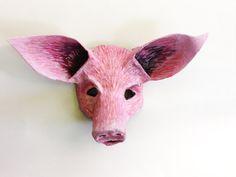 Pig Mask, unique mask, animal mask, farm animal, pink pig, paper mache, wearable by ArtisanMasks on Etsy
