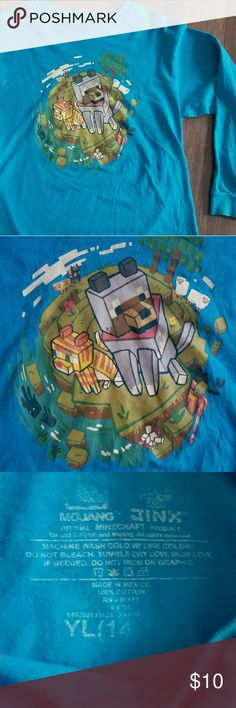 Boys Mine Craft Longsleeve Tee Boys XL (14-16) aqua light blue longsleeve cotton shirt with a Screen print of a Mine Craft character. Looks like the characters are on an island.  In good condition. Shirts & Tops Tees - Long Sleeve