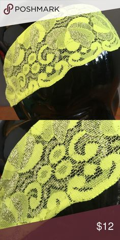 NEW Bandiez Couture Neon Yellow Lace Headband Bandiez Couture lace headband.  Neon yellow with metallic silver threading detail.  New boutique item.  Bundle and save.  Happy Shopping! Bandiez Couture Accessories Hair Accessories