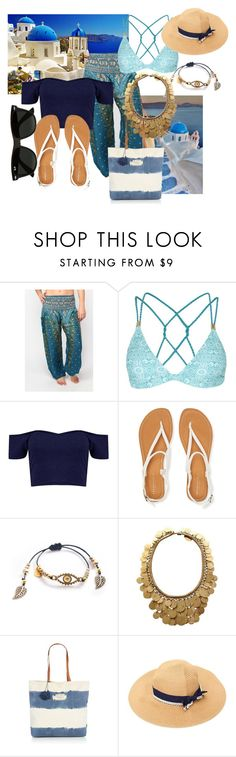"""Santorini Blue"" by onetribeapparel ❤ liked on Polyvore featuring Lonely Planet, Topshop, Aéropostale, Christian Dior, Seafolly and Ray-Ban"