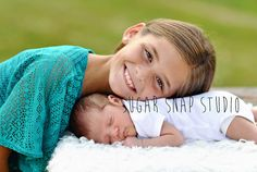 Newborn photography with sibling sweet baby boy big sister / Sugar Snap Studio