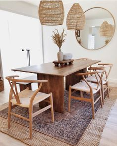 We are obsessed with 's gorgeous dining room 👏 Our Anton solid wood dining table looks amazing on top of these layered rugs. Solid Wood Dining Table, Dining Room Table, West Elm Dining Table, Bed Table, Dining Room Rugs, Modern Rustic Dining Table, Vintage Dining Tables, Simple Dining Table, Rustic Rugs