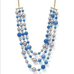 Blue White Bead Necklace