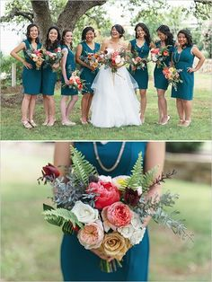 Wedding ideas fall wedding fall colors jewel tones teal wedding bridesmaids blue green colors green and Teal Wedding Flowers, Peacock Wedding Colors, Fall Wedding Colors, Red Flowers, Emerald Bridesmaid Dresses, Blue Bridesmaids, Wedding Bridesmaids, Wedding Dresses, Wedding Bouquets
