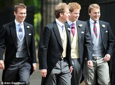 Prince Harry (second from right) with friends dressed in their morning suits at the wedding in the Guards Chapel in London