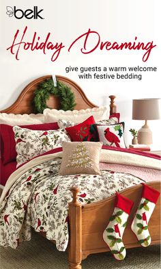 Everyone's coming to your house for Christmas – make sure you have enough festive bedding for every guest room. Layer on the warm and cozy holiday comforters, quilts and pillows that guests are sure to adore, or add some Christmas spirit to your own master suite. Shop holiday bedding in stores or at belk.com.