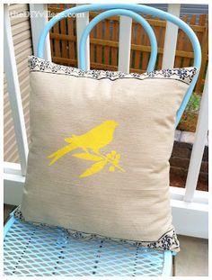 Mother's Day Gift Project- Stenciled Pillow tutorial.  Simple enough for kids to help make!  Choose Mom's favorite theme (birds, flowers,etc) for the stencil.