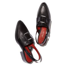 """The slingback strap and elevated block heel make these buttery-soft black leather loafers a subversively cool alternative to heels.Leather1.5"""" heel"""