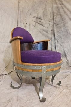 Wine Barrel Chairs, Whiskey Barrel Table, Wine Barrel Table, Wine Barrel Furniture, Wine Barrels, Barris, Sewing Room Design, Barrel Projects, Accent Chairs For Sale